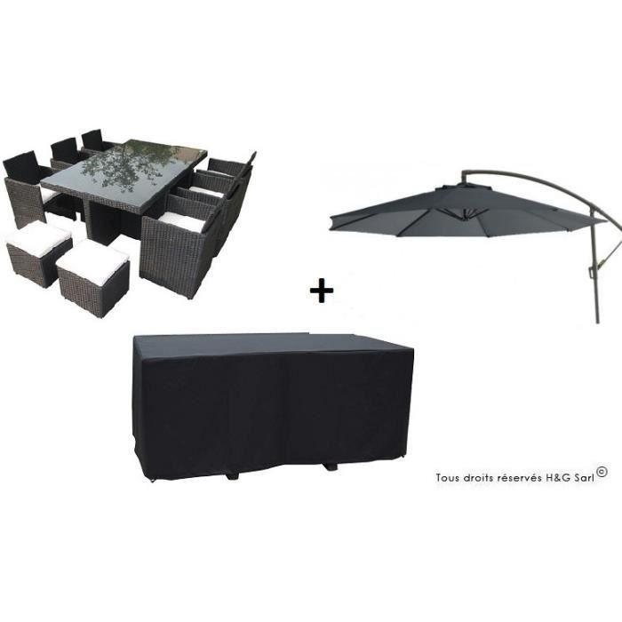 Salon de jardin encastrable en resine tressee noire 10 places avec housse avec parasol gris for Housse salon de jardin resine tressee
