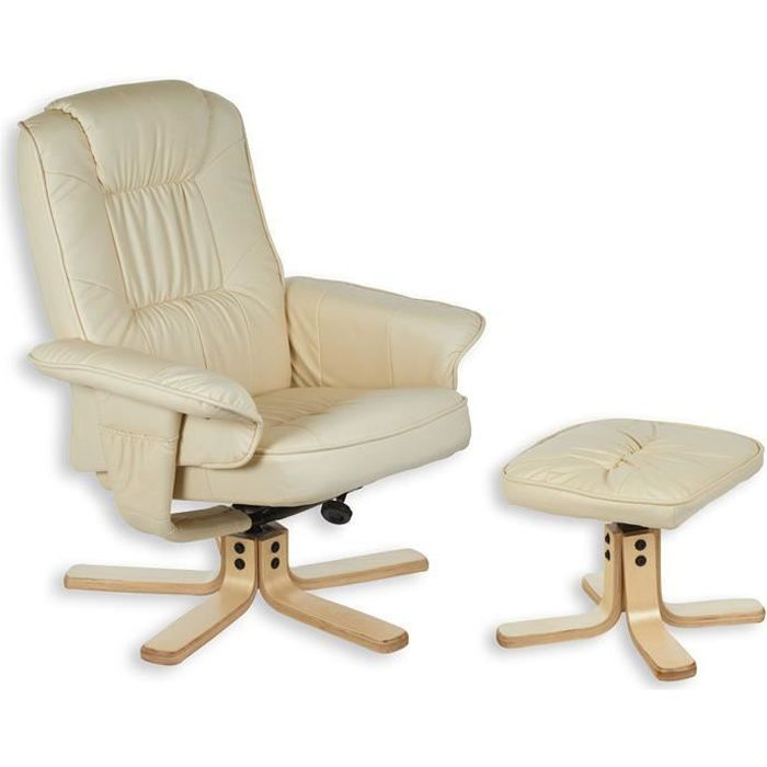 Fauteuil avec repose pieds charly beige achat vente - Chaise avec repose pied ...