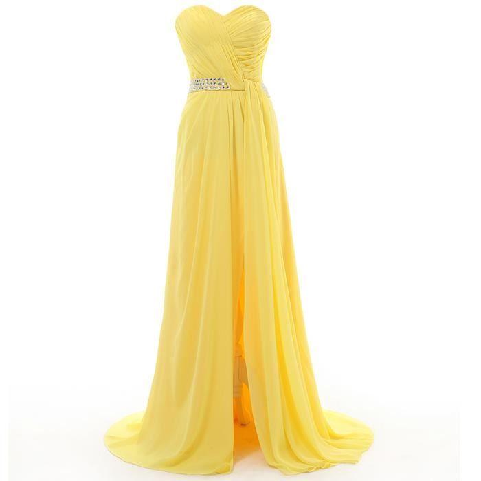 robe de demoiselle d 39 honneur en mousseline de soie jaune longue robe de soir e robe des femmes. Black Bedroom Furniture Sets. Home Design Ideas