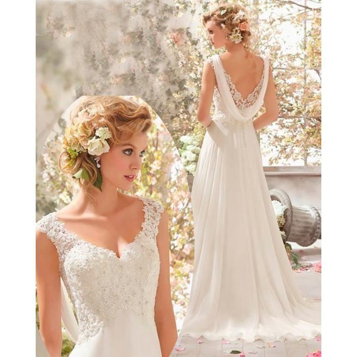 robe de mari e femme blanc col en v robe femme 32 46