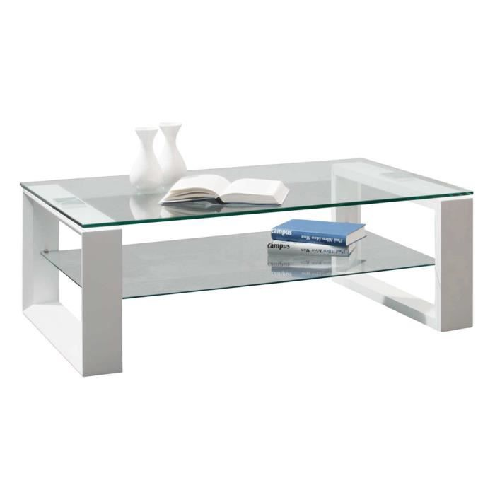 Table Basse Swithome Coffee 2 Plateaux Verre Blanc