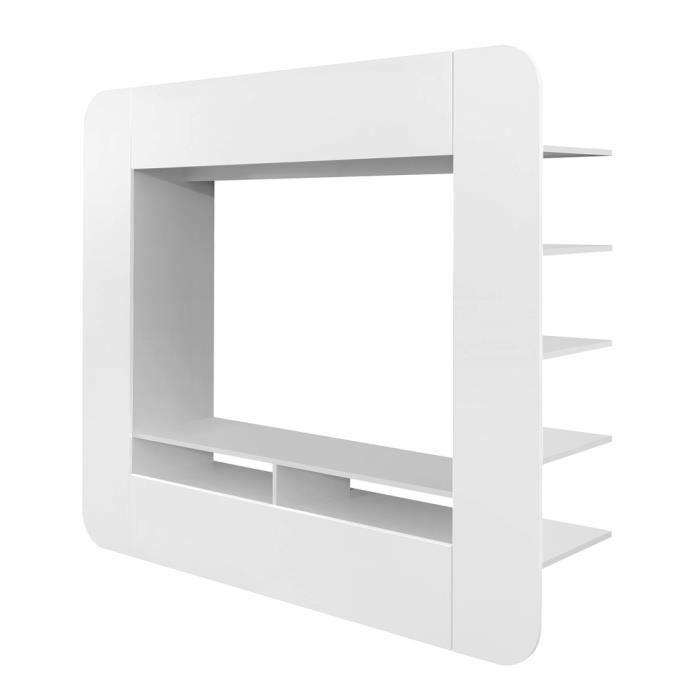 Meuble tv media wall arrondi blanc achat vente meuble tv meuble tv media - Meuble tv blanc cdiscount ...