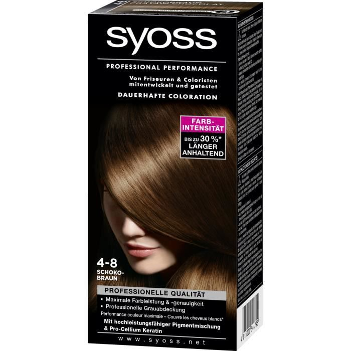 coloration syoss coloration 4 8 chtain chocolat - Syoss Coloration Prix