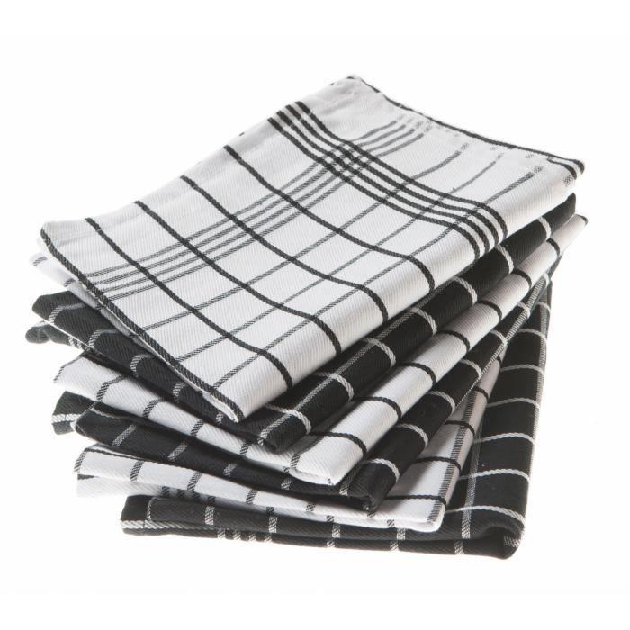 lot de 6 torchons dobby chrystelle noir et blanc achat vente torchon essuie main cdiscount. Black Bedroom Furniture Sets. Home Design Ideas