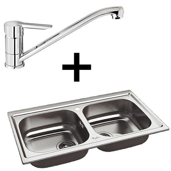 Evier whirlpool inox 2 bacs et robinet mitigeur de cuisine for Prix d un robinet de cuisine