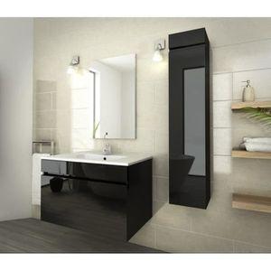 Meuble salle de bain noir laque achat vente meuble - Meubles salle de bain cdiscount ...