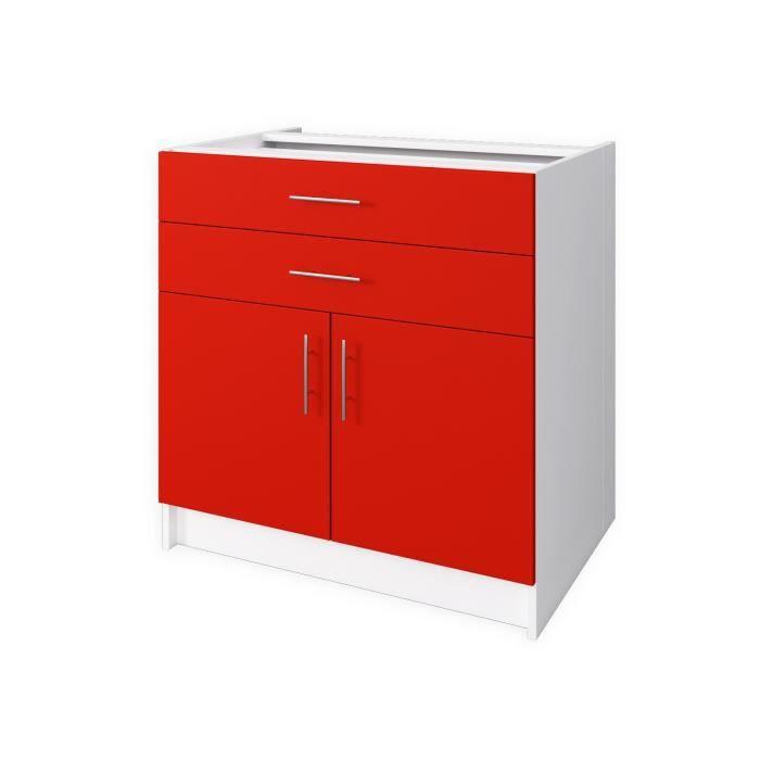 Obi meuble bas de cuisine 80 cm rouge mat achat for Meuble cuisine element bas