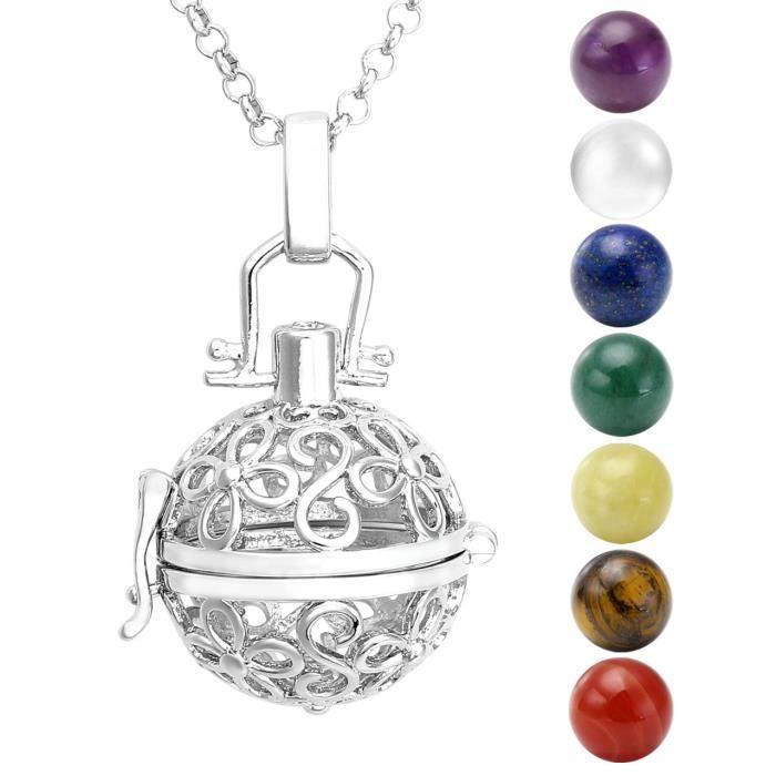 Bola de grossesse platin quatre feuilles fleur 7 pierres naturelles central chakra avec collier - Bola de grossesse signification ...