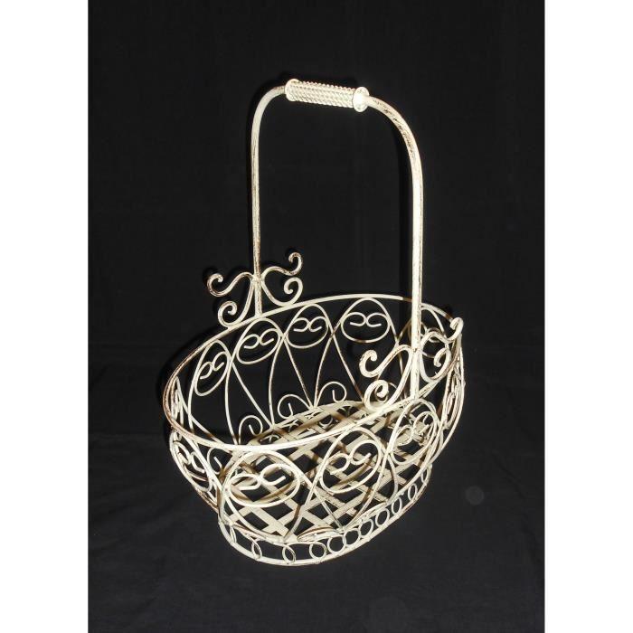 panier de jardin fer forg blanc patin grand mod le 48x38x26 cm achat vente jardini re. Black Bedroom Furniture Sets. Home Design Ideas