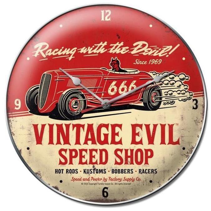 Horloge hot rod vintage evil rouge pendule achat vente for Pendule de cuisine rouge