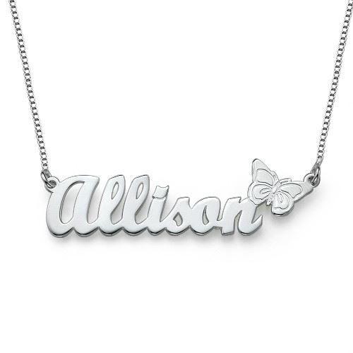 collier pr nom avec pendentif papillon achat vente sautoir et collier necklaces argent argent. Black Bedroom Furniture Sets. Home Design Ideas