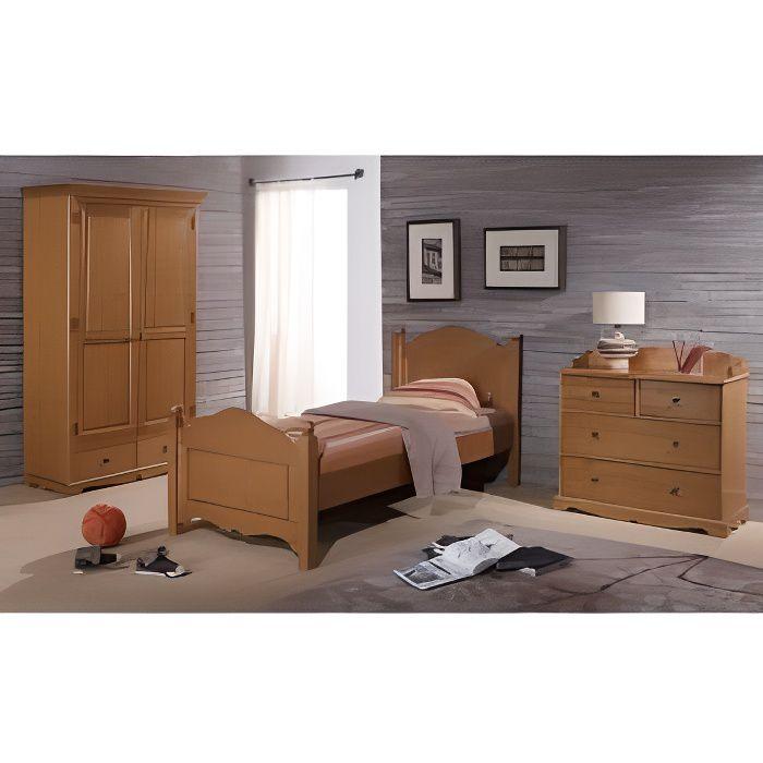 chambre enfant pin miel lit 90 armoire comm achat. Black Bedroom Furniture Sets. Home Design Ideas