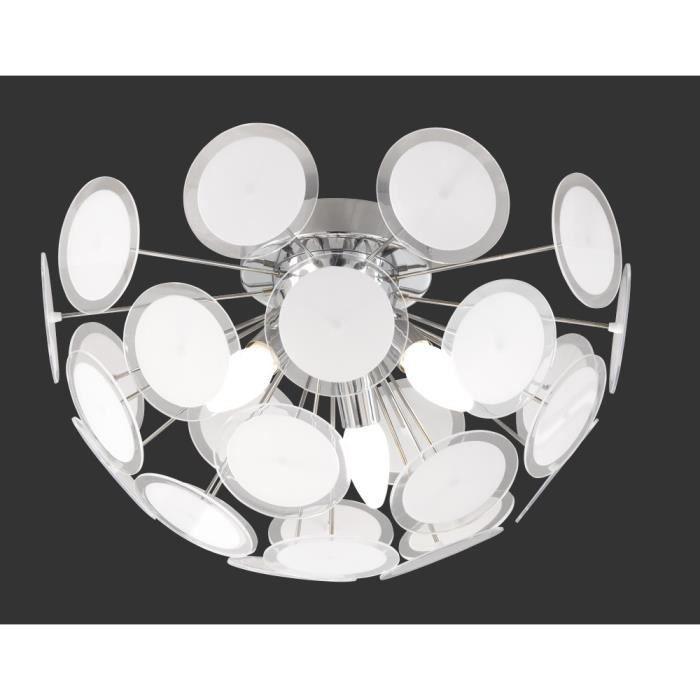 plafonnier 45 cm 3 ampoules en chrome et acrylique achat vente plafonnier 45 cm 3 ampoules. Black Bedroom Furniture Sets. Home Design Ideas