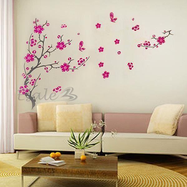 Stickers mural autocollant fleur de cerisier decoration for Decoration autocollant mural