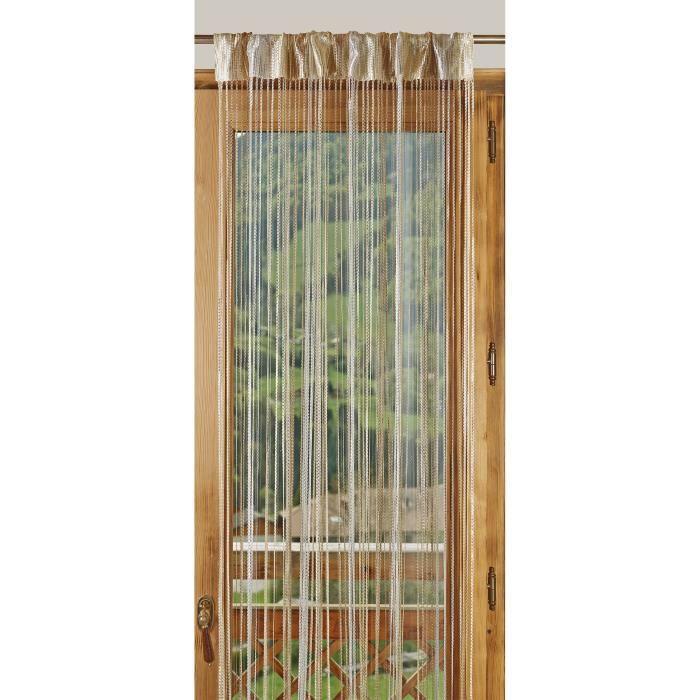 1 rideau fils paillettes bicolore 90x240cm beige ecru achat vente rideau 100 polyester. Black Bedroom Furniture Sets. Home Design Ideas