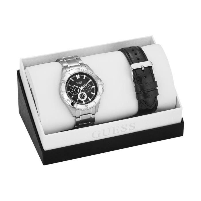 coffret montre pour homme bracelets cuir noir et acier adapter guess w0361g1 achat vente. Black Bedroom Furniture Sets. Home Design Ideas