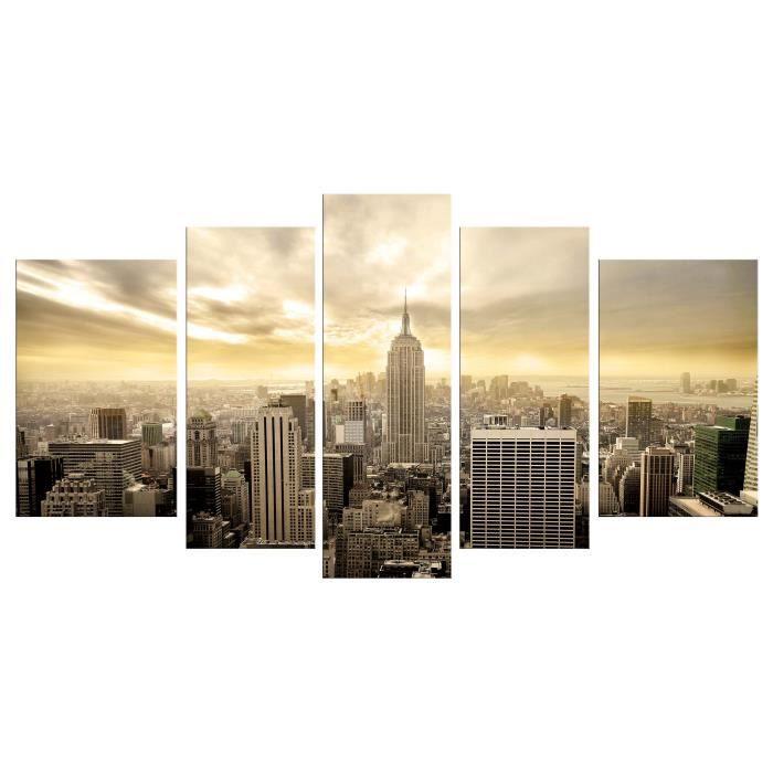 city tableau multi panneaux 110x60cm achat vente tableau toile toile polyester 200g bois. Black Bedroom Furniture Sets. Home Design Ideas