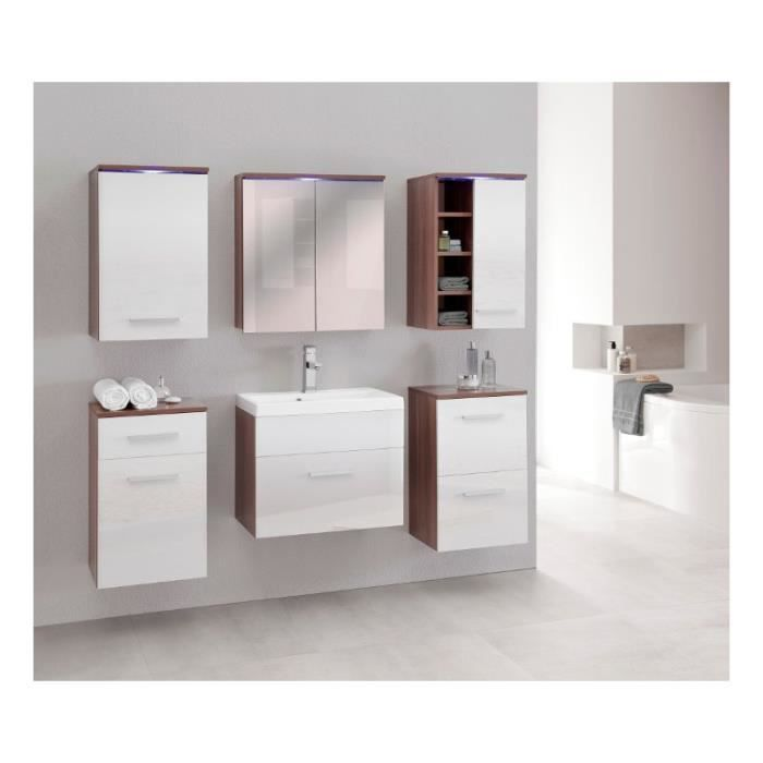 Justhome megi ensemble salle de bain en bois de prune blanc achat vente - Ensemble salle de bain bois ...