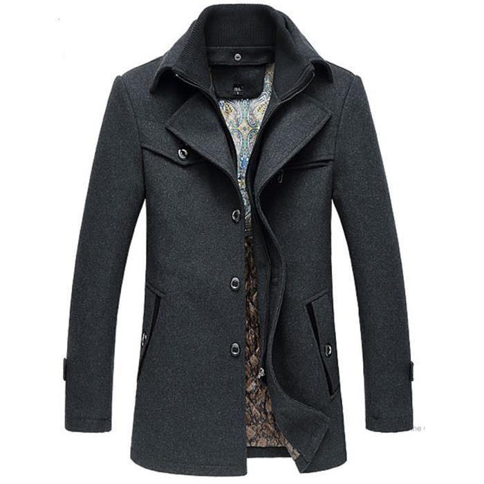 manteau homme gris gris achat vente manteau caban cdiscount. Black Bedroom Furniture Sets. Home Design Ideas