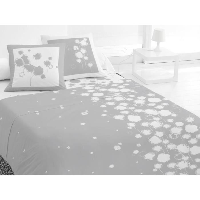 parure de lit 4 pi ces fleur de coton gris 100 coton achat vente parure de drap cdiscount. Black Bedroom Furniture Sets. Home Design Ideas