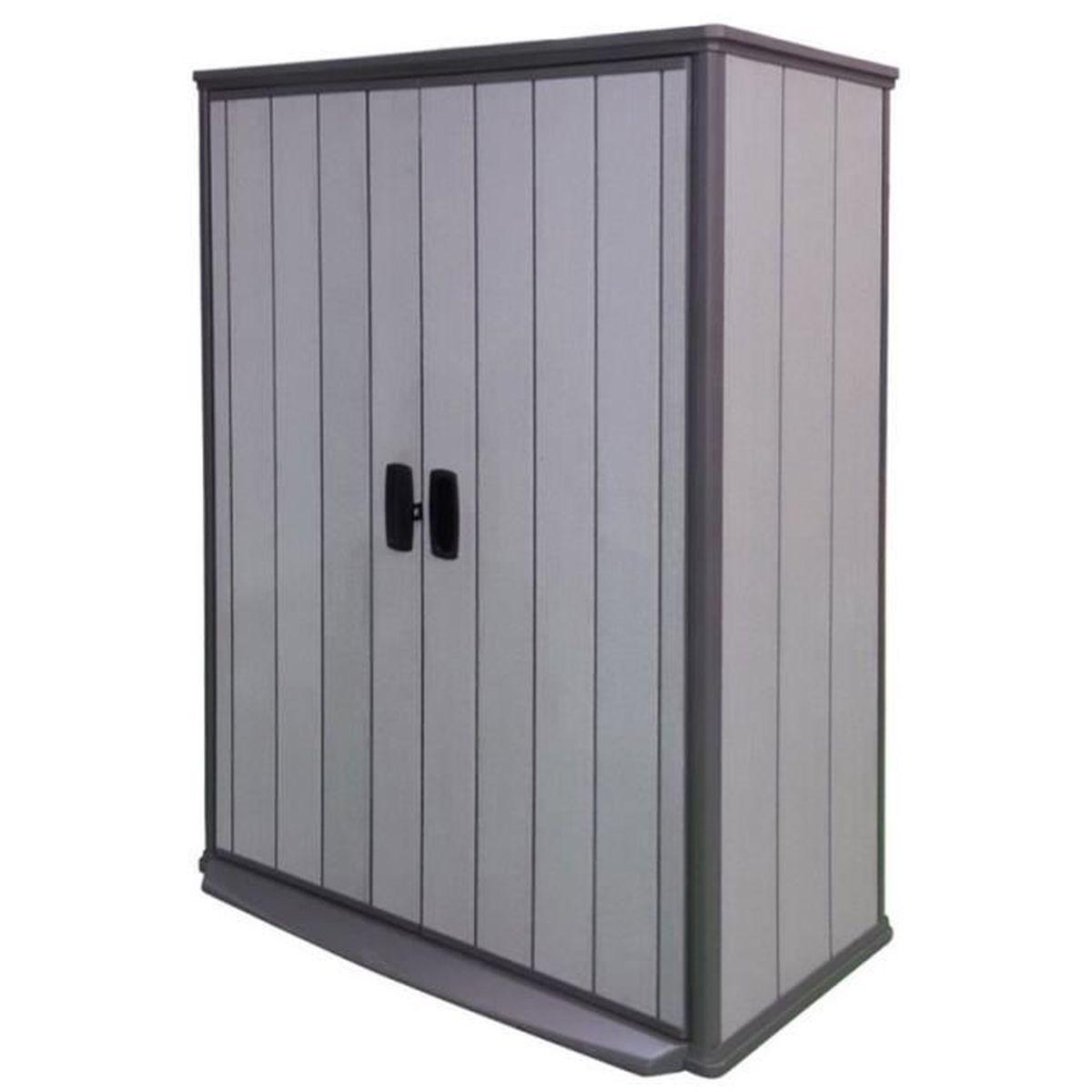 armoire de jardin en r sine polypropyl ne coloris grise 138 x 80 5 x 185 cm achat vente. Black Bedroom Furniture Sets. Home Design Ideas