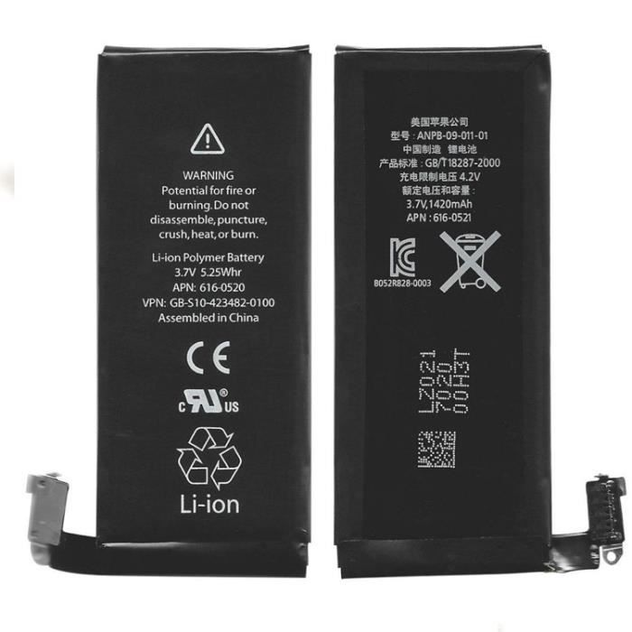 batterie origine apple iphone 4s 1420mah batterie t l phone avis et prix pas cher. Black Bedroom Furniture Sets. Home Design Ideas