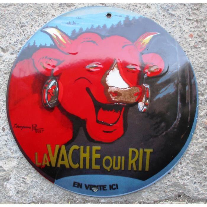 Plaque emaill e vache qui rit ronde 24cm bomb d co for Plaque de decoration murale