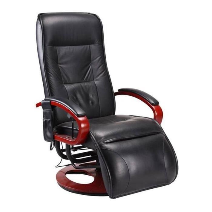 Fauteuil relax massant avignon cuir noir achat vente fauteuil cuir boi - Fauteuille relax cuir ...