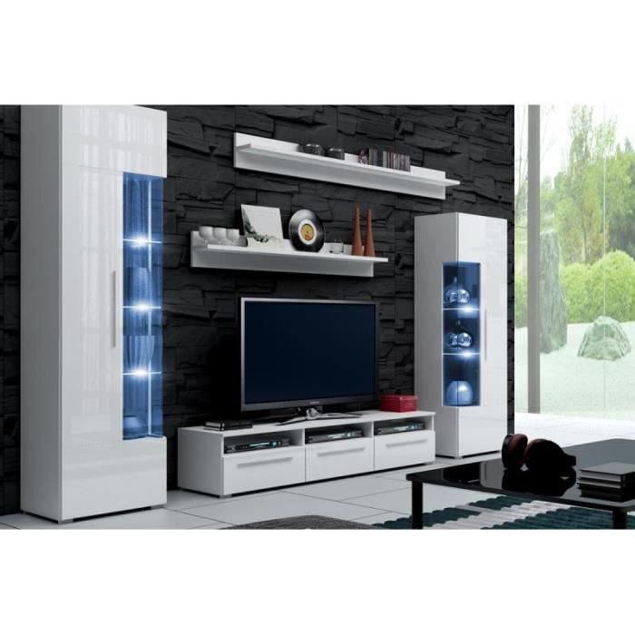 mur tv laque blanc mdf ref roma achat vente meuble tv mur tv laque blanc mdf ref cdiscount. Black Bedroom Furniture Sets. Home Design Ideas