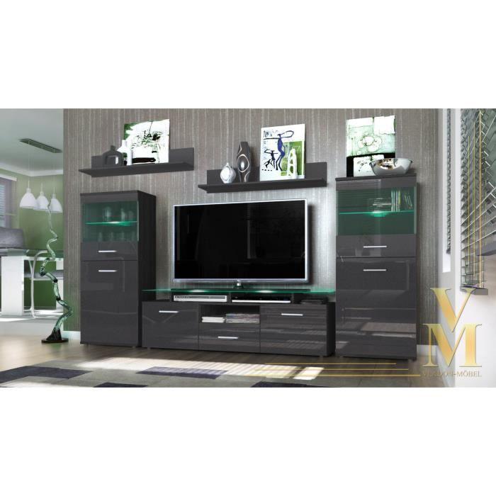Ensemble 5 meubles TV laqué noir/noir métallique 1 - Achat ...