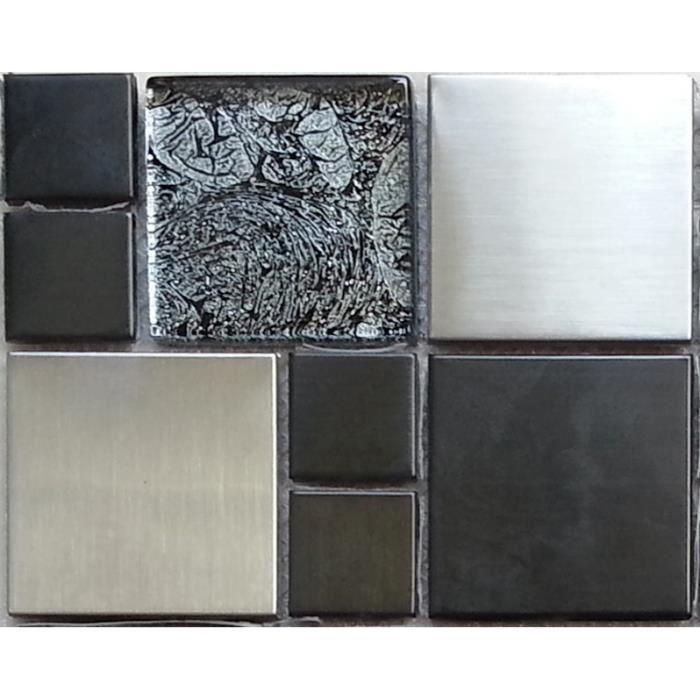Carrelage mosa que en verre et acier inoxydable noir for Achat carrelage