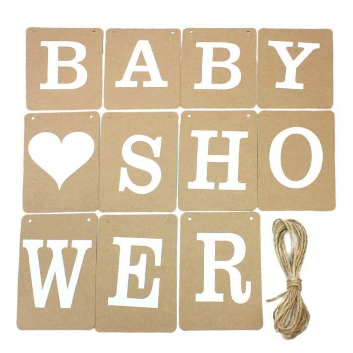 d cor salle banni re mots baby shower banderole en papier guirlande mariage achat vente. Black Bedroom Furniture Sets. Home Design Ideas