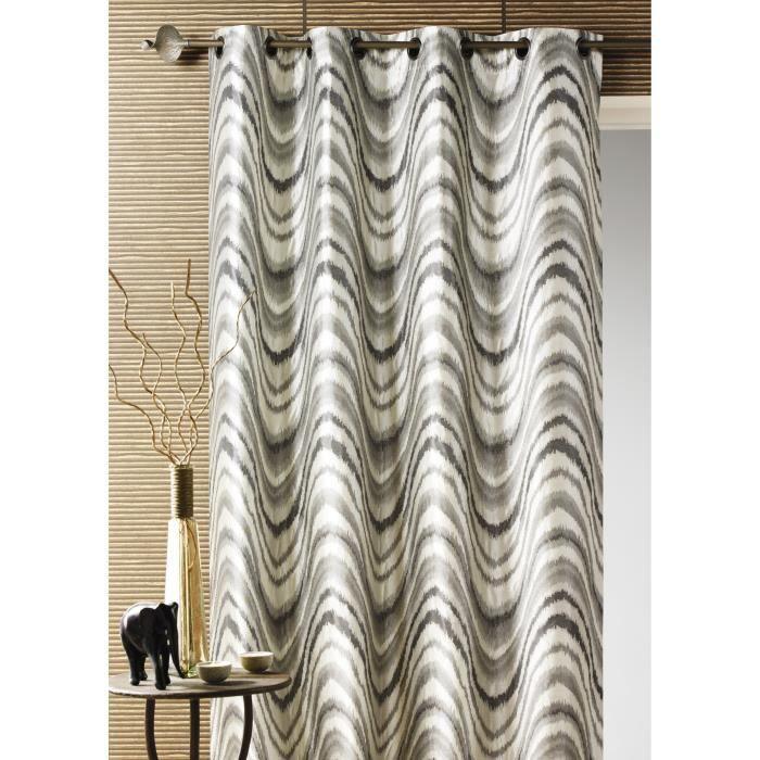 double rideau ameublement jacquard zebr gris 1 achat. Black Bedroom Furniture Sets. Home Design Ideas