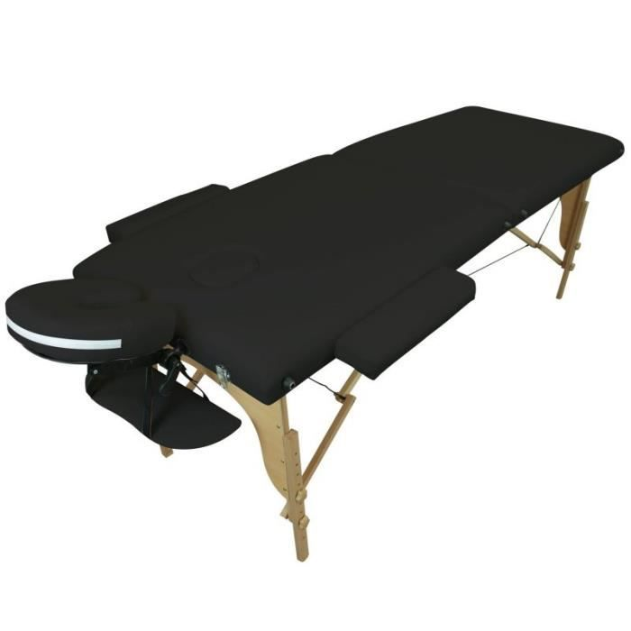 Table de massage pliante 2 zones noire achat vente table de massage table - Achat table de massage pliante ...