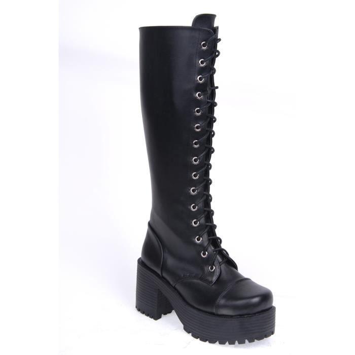 bottes gothiques semelles compens es noir achat vente botte soldes d t cdiscount. Black Bedroom Furniture Sets. Home Design Ideas