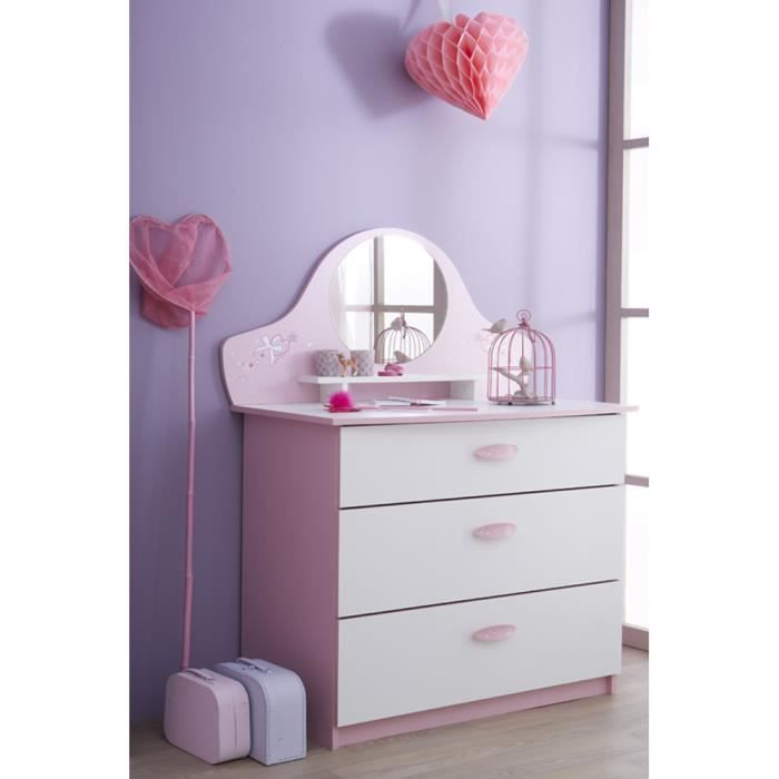Commode 3 tiroirs 1 miroir coloris rose orchid e blanc for Commode bebe rose