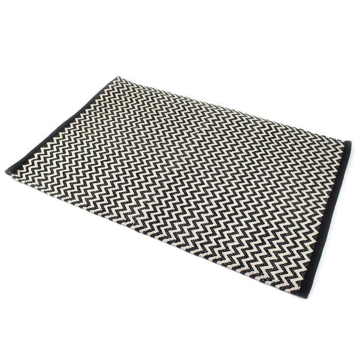 Zig zag tapis 100 coton 60x90 cm noir et beige achat vente tapis 100 coton cdiscount for Tapis raye noir beige