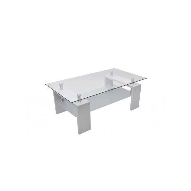 Superbe table basse de salon en verre et mdf blanc laqu - Table basse en verre cdiscount ...