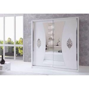Chambre a coucher laque blanc achat vente chambre a for First chambre complete adulte 140cm laque blanc