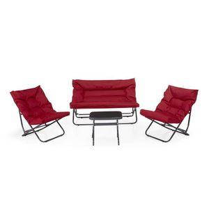 salon de jardin rouge achat vente salon de jardin rouge pas cher soldes cdiscount. Black Bedroom Furniture Sets. Home Design Ideas