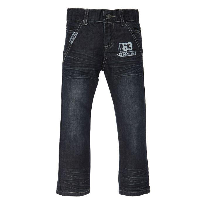 Alphabet pantalon denim marine brut washed achat vente for Bouton cuisse interieur