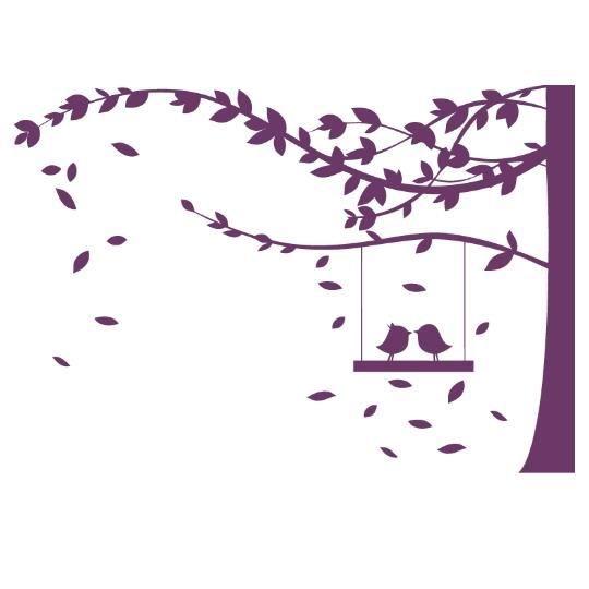 Stickers arbre et oiseaux violet achat vente stickers for Autocollant mural arbre