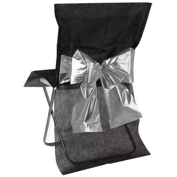 Housse de chaise noire noeud metalis argent lot de 4 - Housse de chaise noir ...