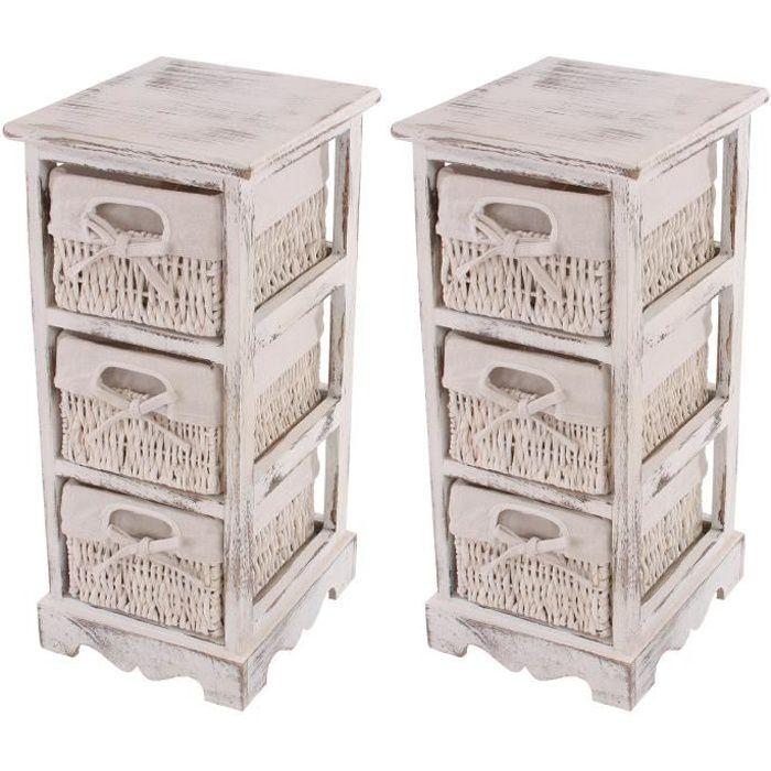 2x commodes meubles d 39 appoint tag res 3 paniers 25x28x58cm shabby vintage blanc achat - Etagere d appoint cuisine ...