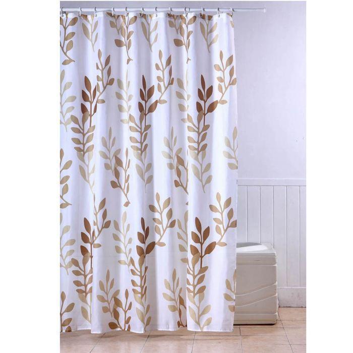 RIDEAU DE DOUCHE FRANDIS Rideau de douche textile Feuilles beige