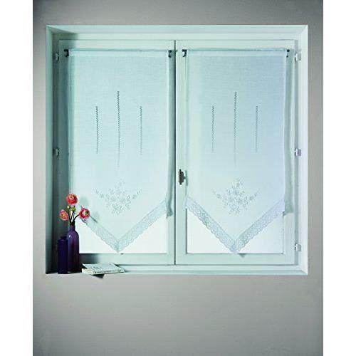 home maison hm69813102 voilage paire en etamine avec. Black Bedroom Furniture Sets. Home Design Ideas