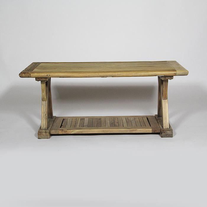 Table basse en orme avec double plateau 110x5 achat for Table basse double plateau