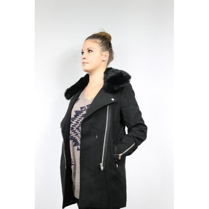manteau col fourrure noir achat vente manteau caban. Black Bedroom Furniture Sets. Home Design Ideas