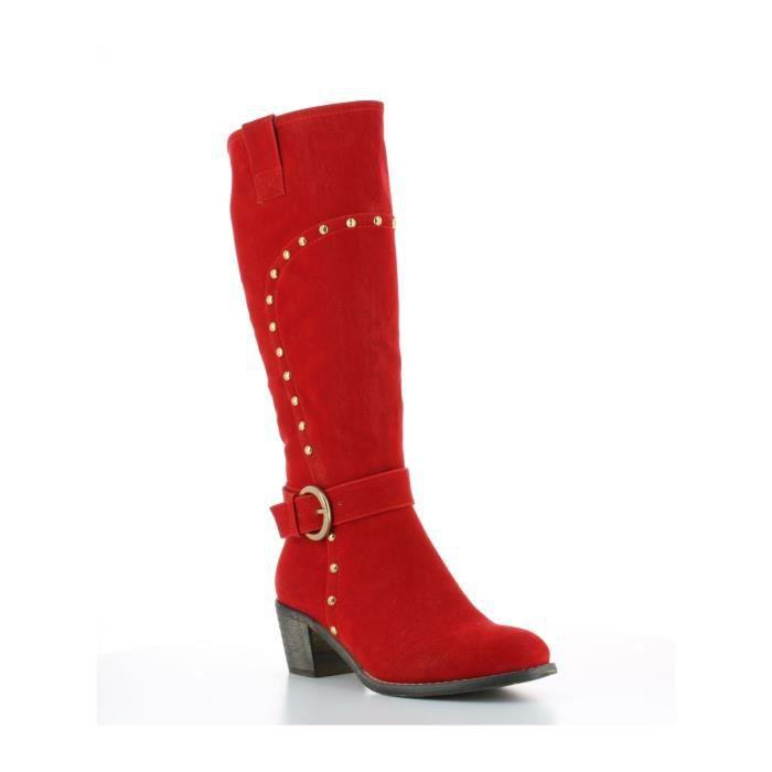 bottes cavali re avec clous milanelli rouge rouge rouge achat vente botte cdiscount. Black Bedroom Furniture Sets. Home Design Ideas