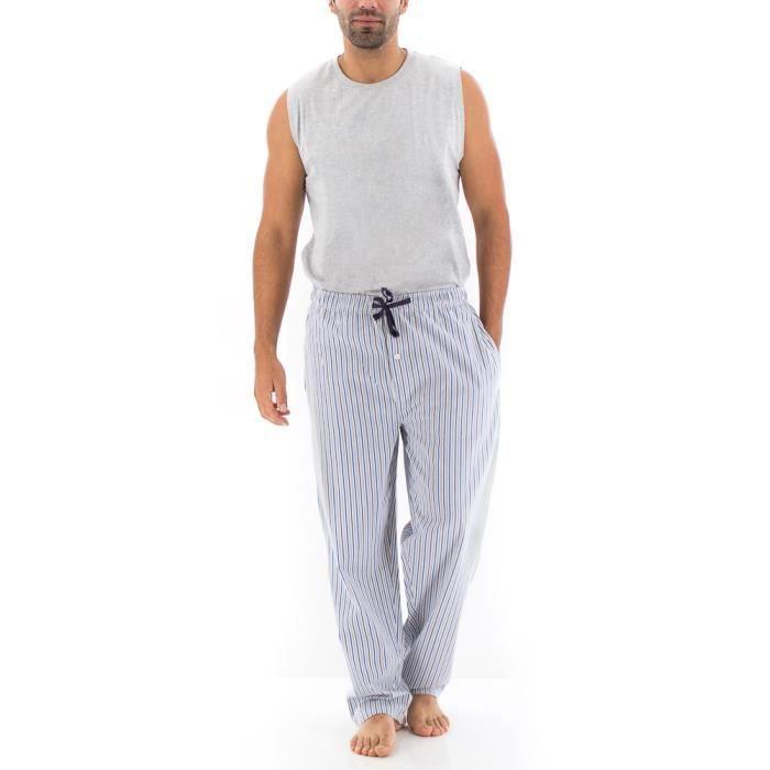 pantalon homme perm tro raye bleu achat vente chemise de nuit cdiscount. Black Bedroom Furniture Sets. Home Design Ideas